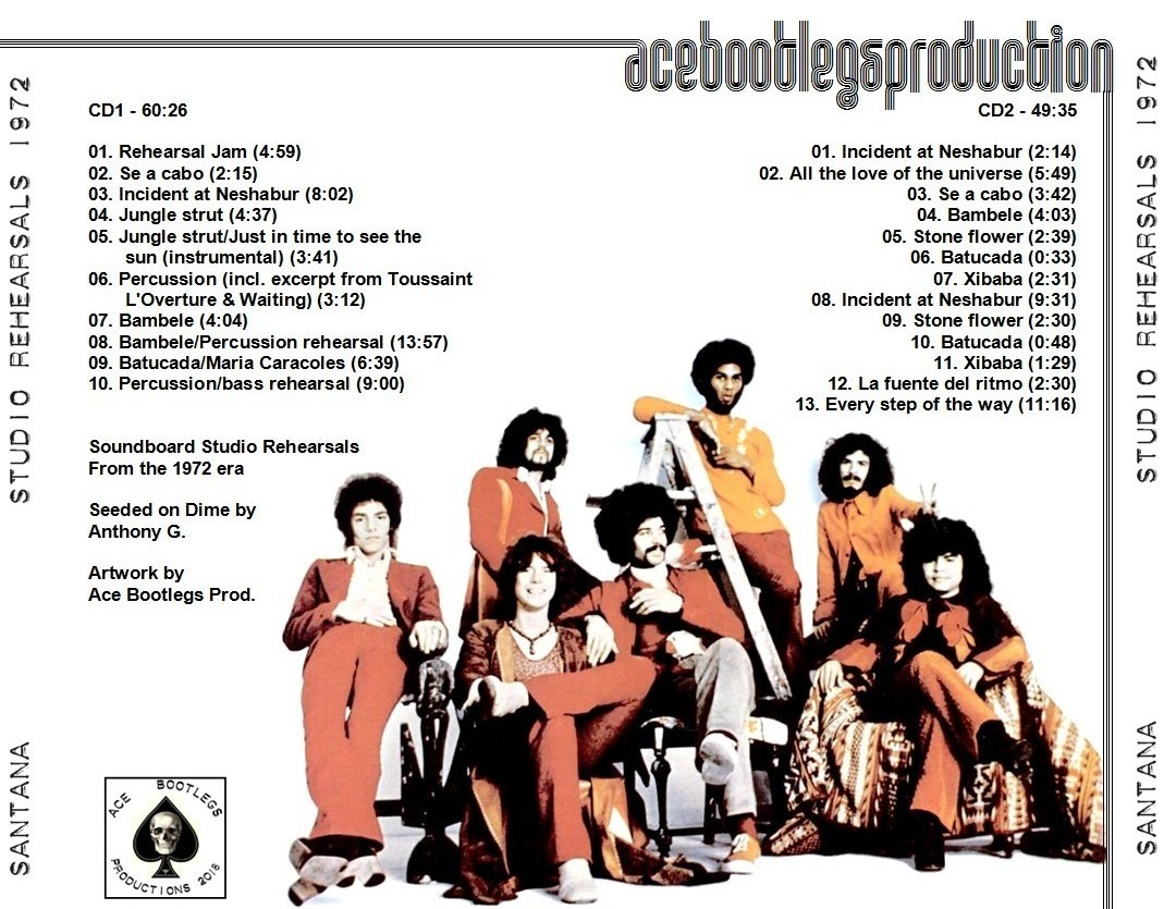 SANTANA – STUDIO REHEARSALS 1972 – ACE BOOTLEGS