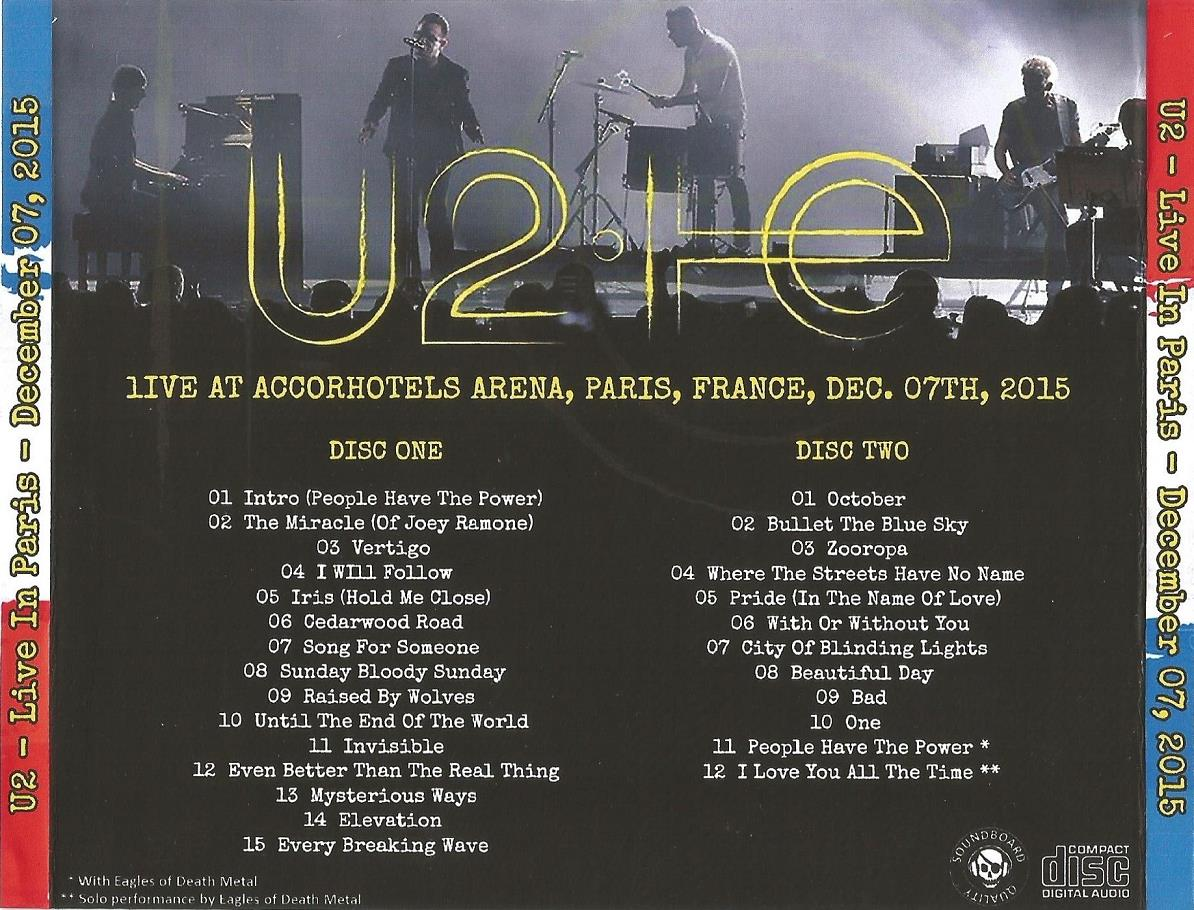 U2 – LIVE IN PARIS, DECEMBER 07, 2015 – ACE BOOTLEGS