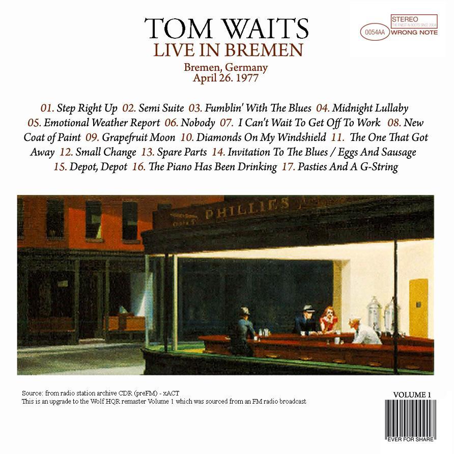 tom waits live in bremen ace bootlegs. Black Bedroom Furniture Sets. Home Design Ideas